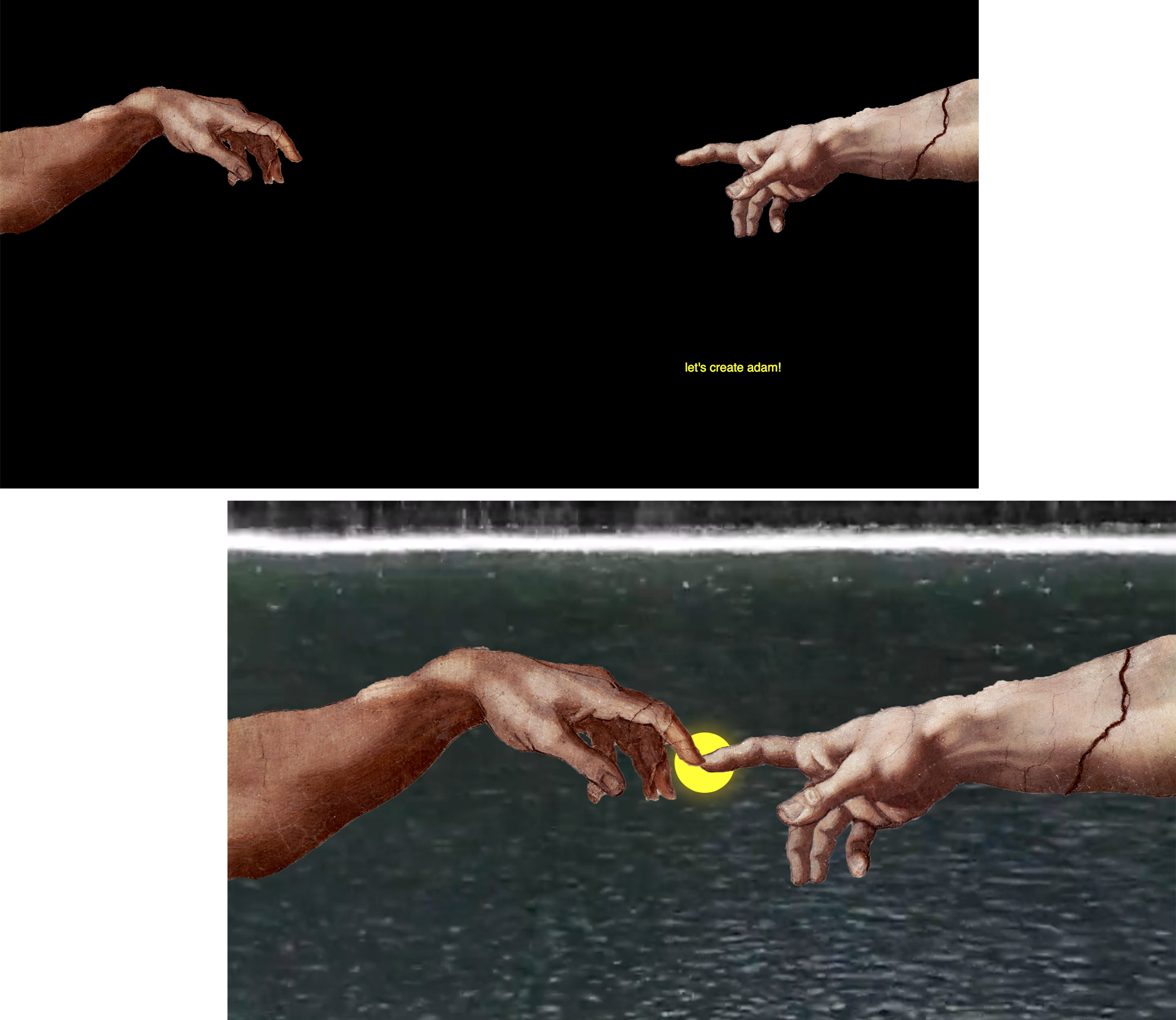 "In  adam , I took the famous  Creation of Adam  hands by Michelangelo and asked the user to ""create adam."" By dragging the window until the fingers touch, a glowing orb and flowing water appear in the background. I love incorporating art historical references in my work. See it  here ."