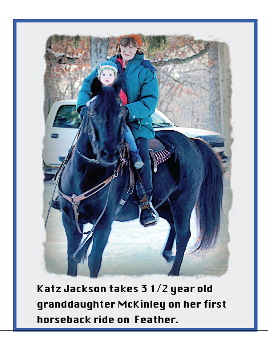 Katz Jackson and her granddaughter having some winter fun on a Morgan, of course!
