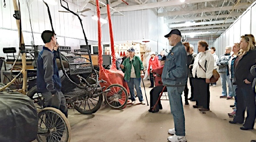 An impressive row of buggies and carts at Kohler Stables.