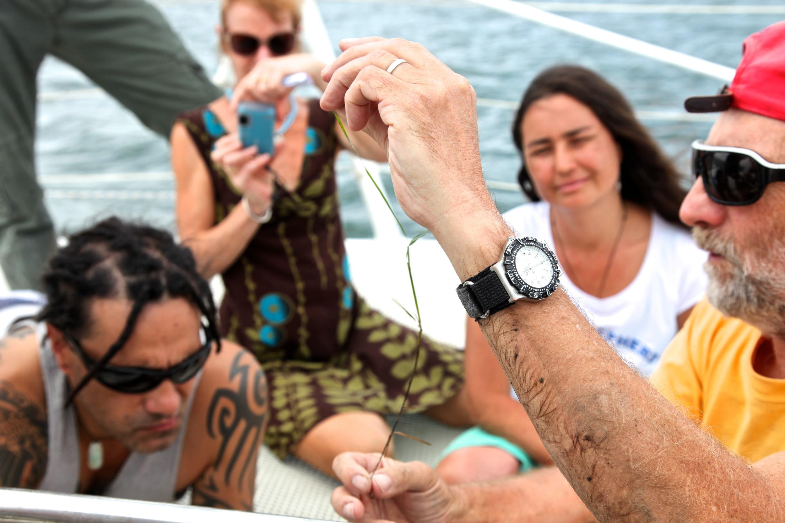 Harry Breidahl, marine educator, teaching on board S.V. Pelican 1 - using the vessel as a classroom at sea.