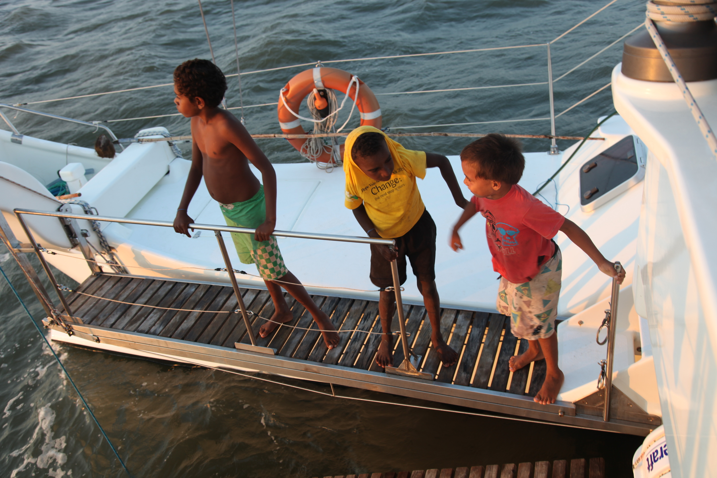 Some local boys out on Guugu Yimithirr Sea Country, Cape York - 2013 Hope Vale Voyage.