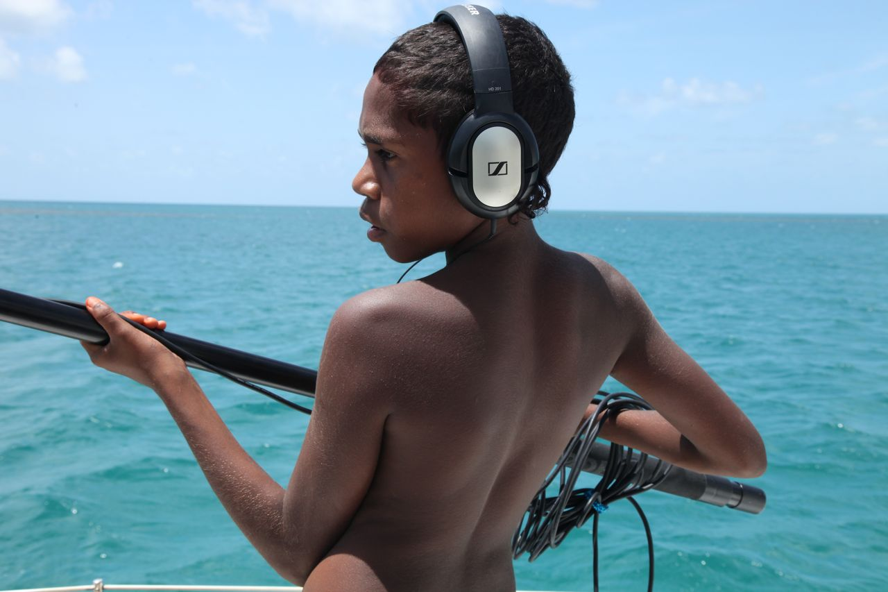 Austin from Hope Vale, Cape York working the boom for the Hope Vale/Pelican documentary film in 2014.