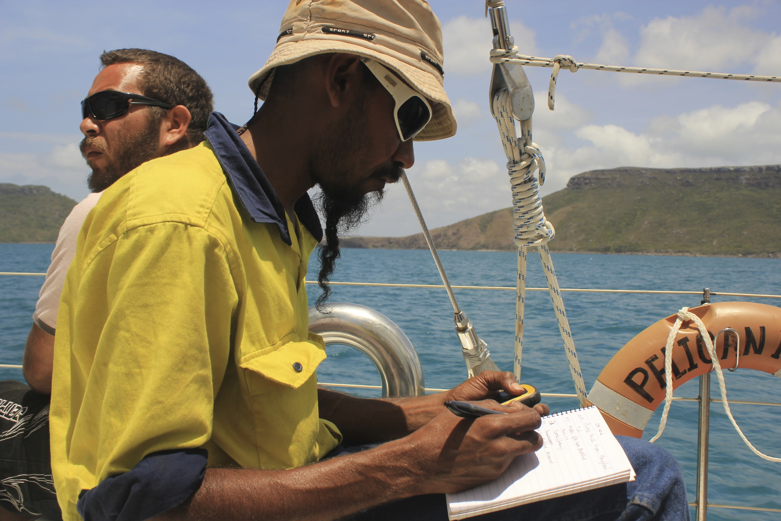 Sea Country ranger from Hope Vale- mapping from Pelican1- Hope Vale/Pelican project