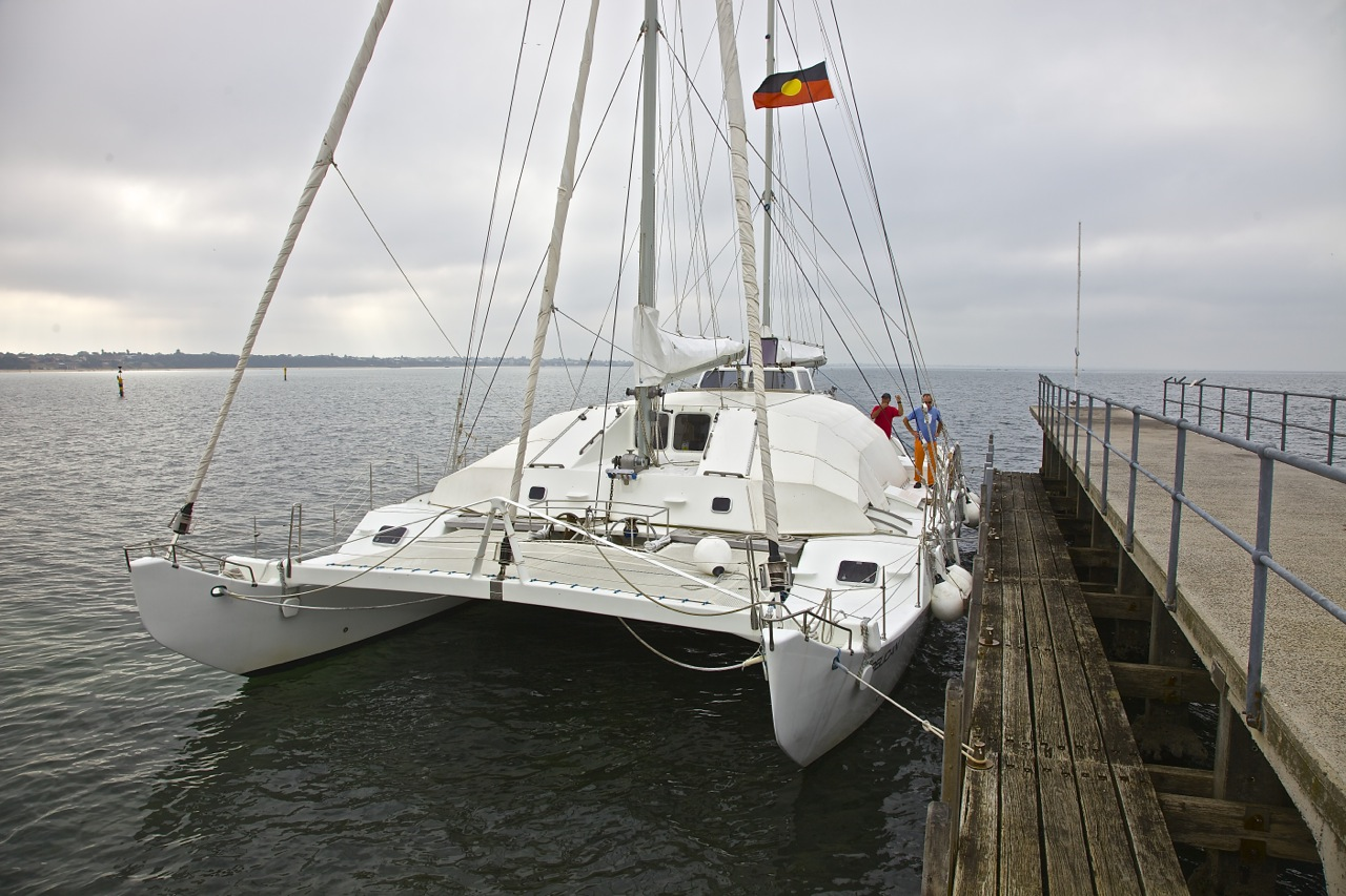 Pelican1 at Beaumaris Pier- ready to set off for Two Bays 2015