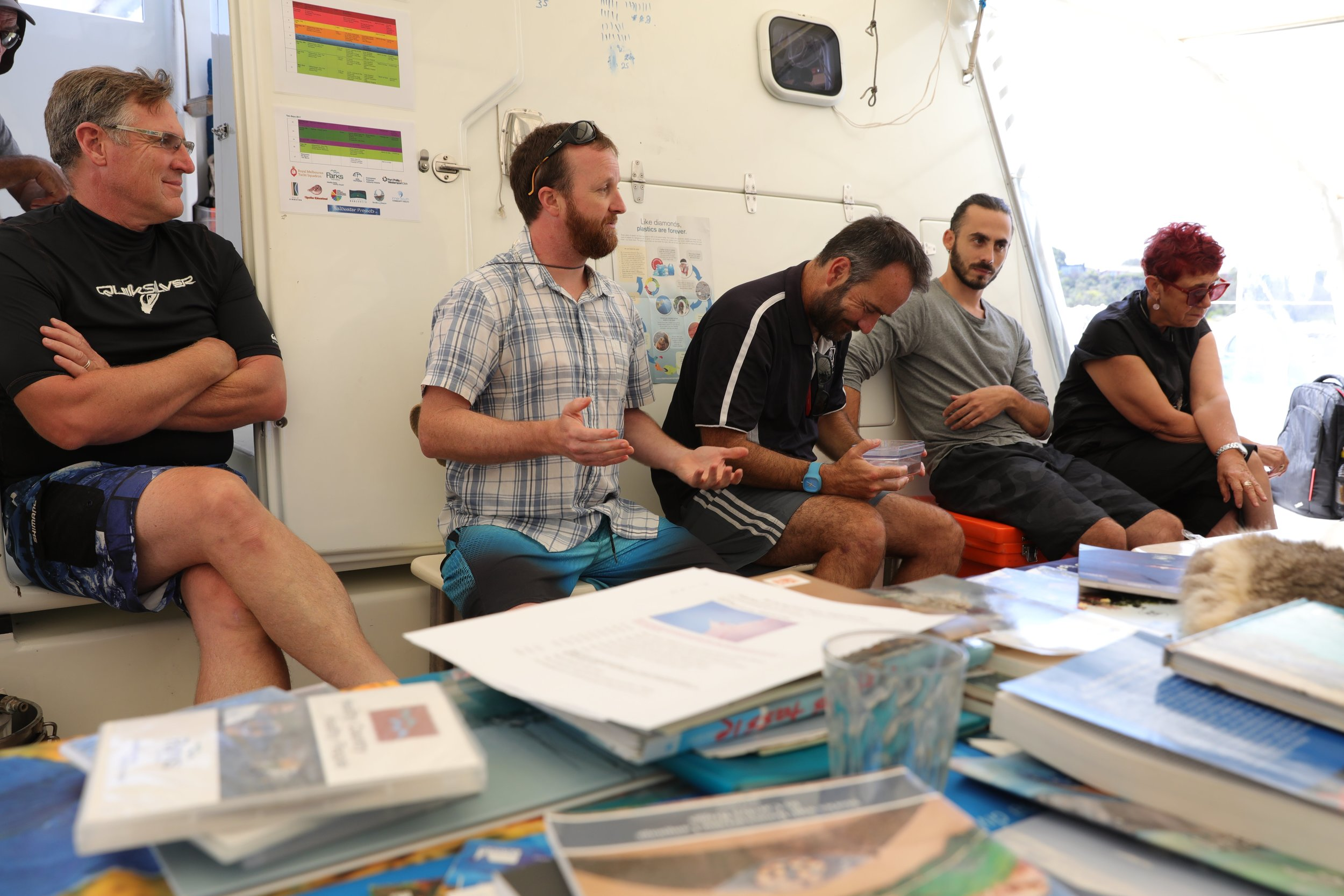 Simon sharing the Reef restoration project on board Pelican1.