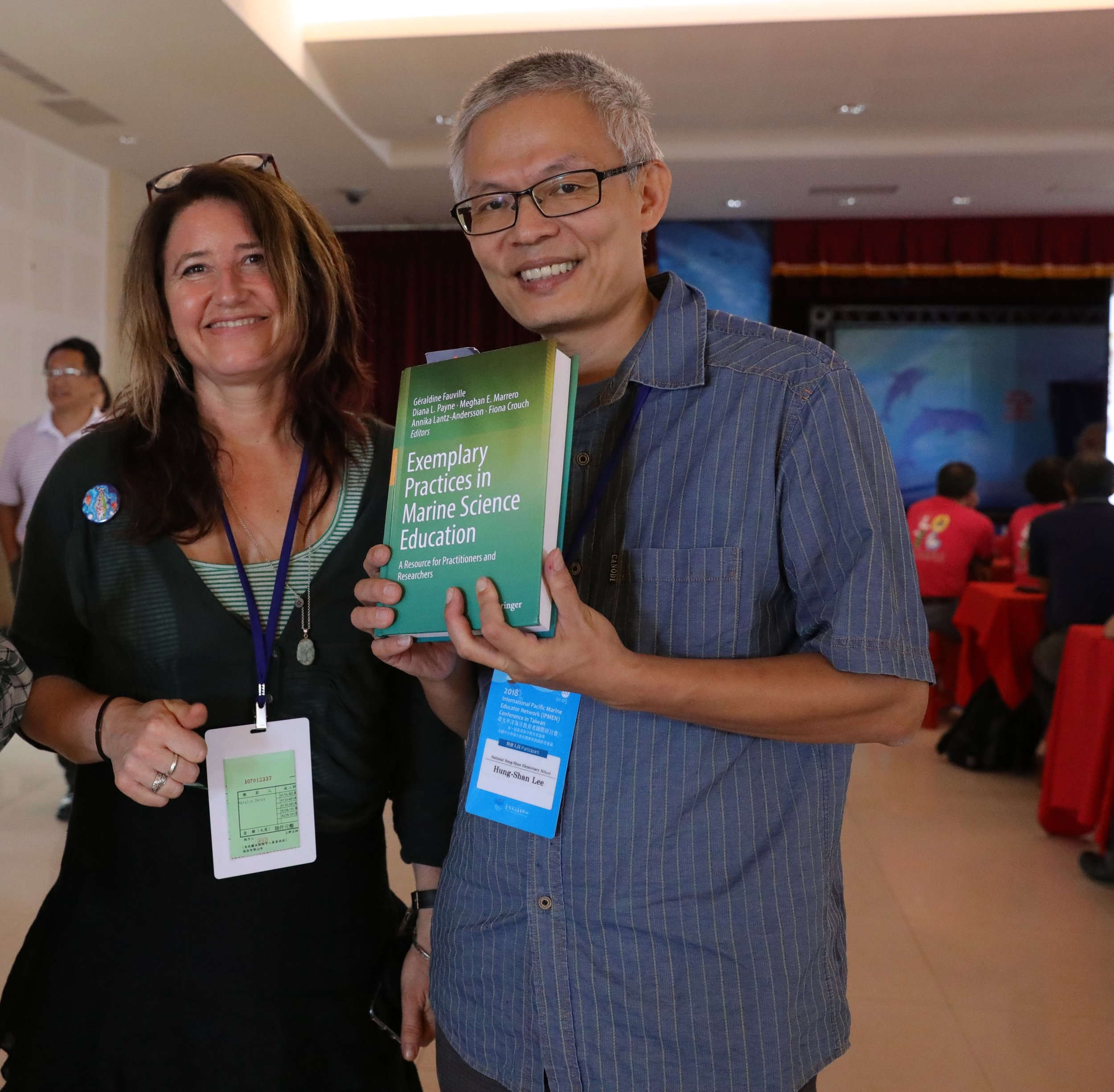 I met a fellow author from the book Rex (Hung-Shan Lee) is holding here. He has a piece inside called Marine Education Through Cooperation:  A Case Study of Opportunity in a Remote School in Taiwan . Lee is a true champion of marine education in Taiwan!