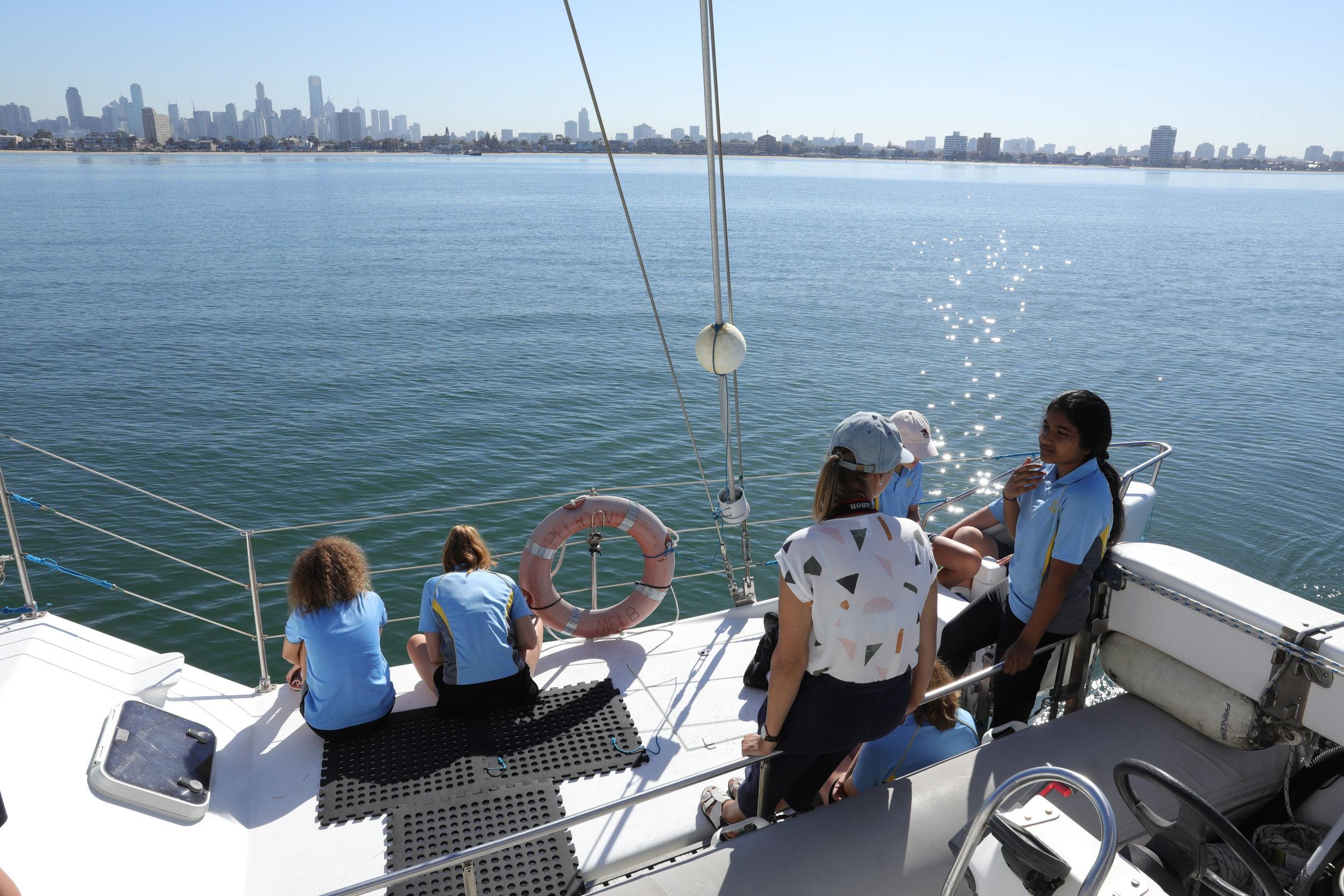 Senior students on board Pelican1 in Port Phillip Bay 2018