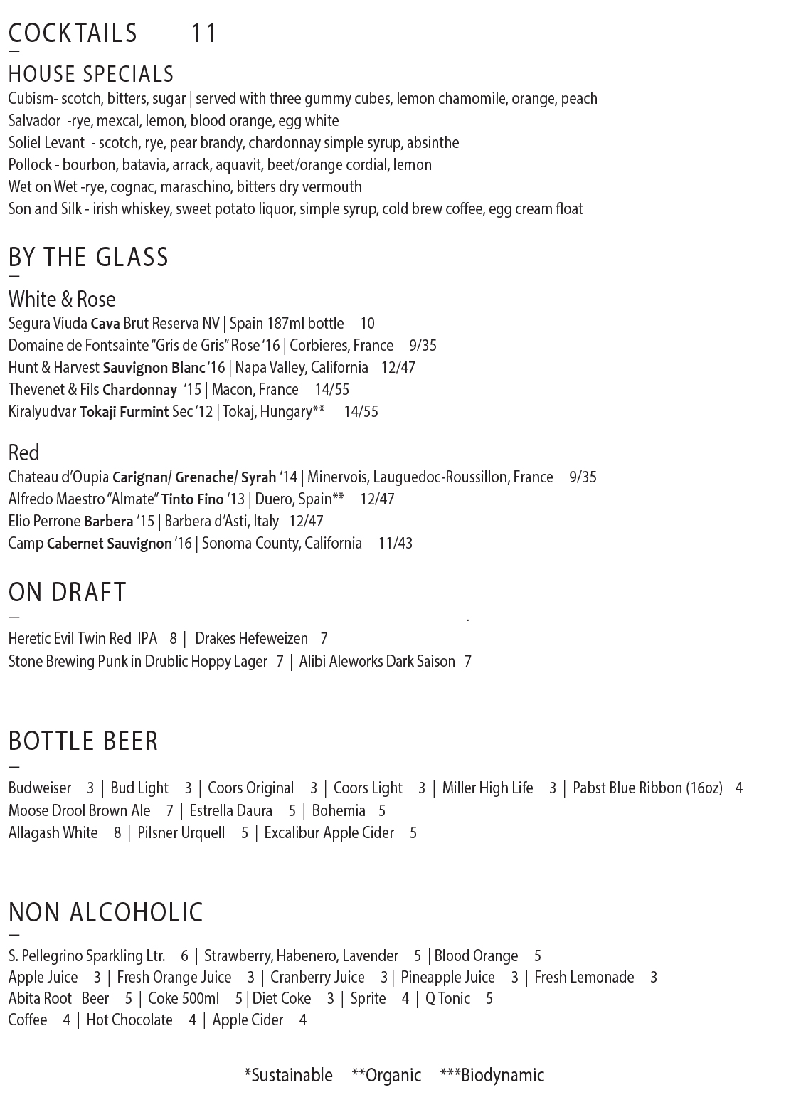 Truckee Tavern & Grill Cocktail Menu & wine list