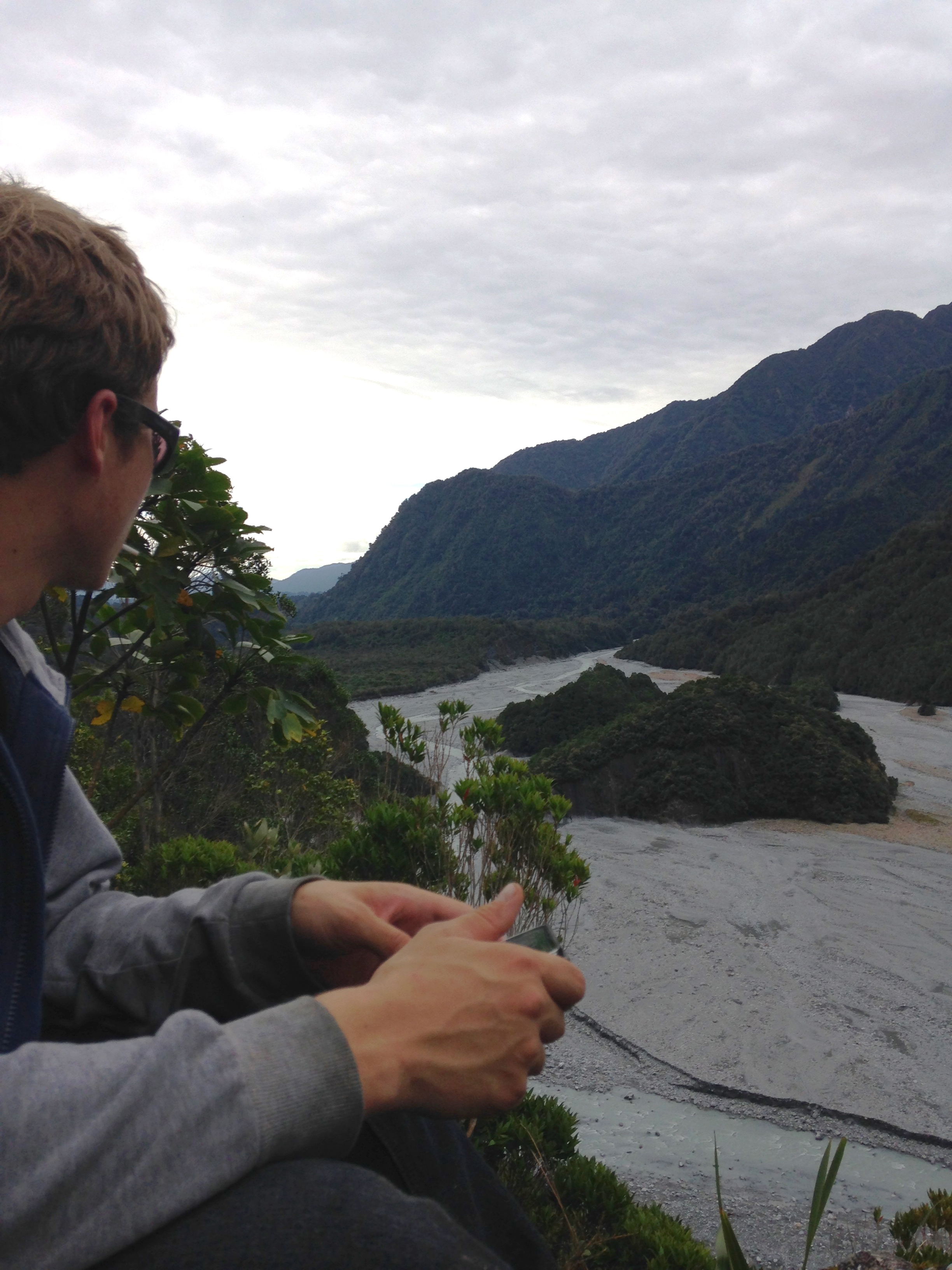 Julius and I went for a steep sketchy bush climb up the side of a waterfall just above the Franz Joseph glacier track. It was a laugh, and probably quite dangerous. The only other folks who had been there before us were bush pigs and possums.