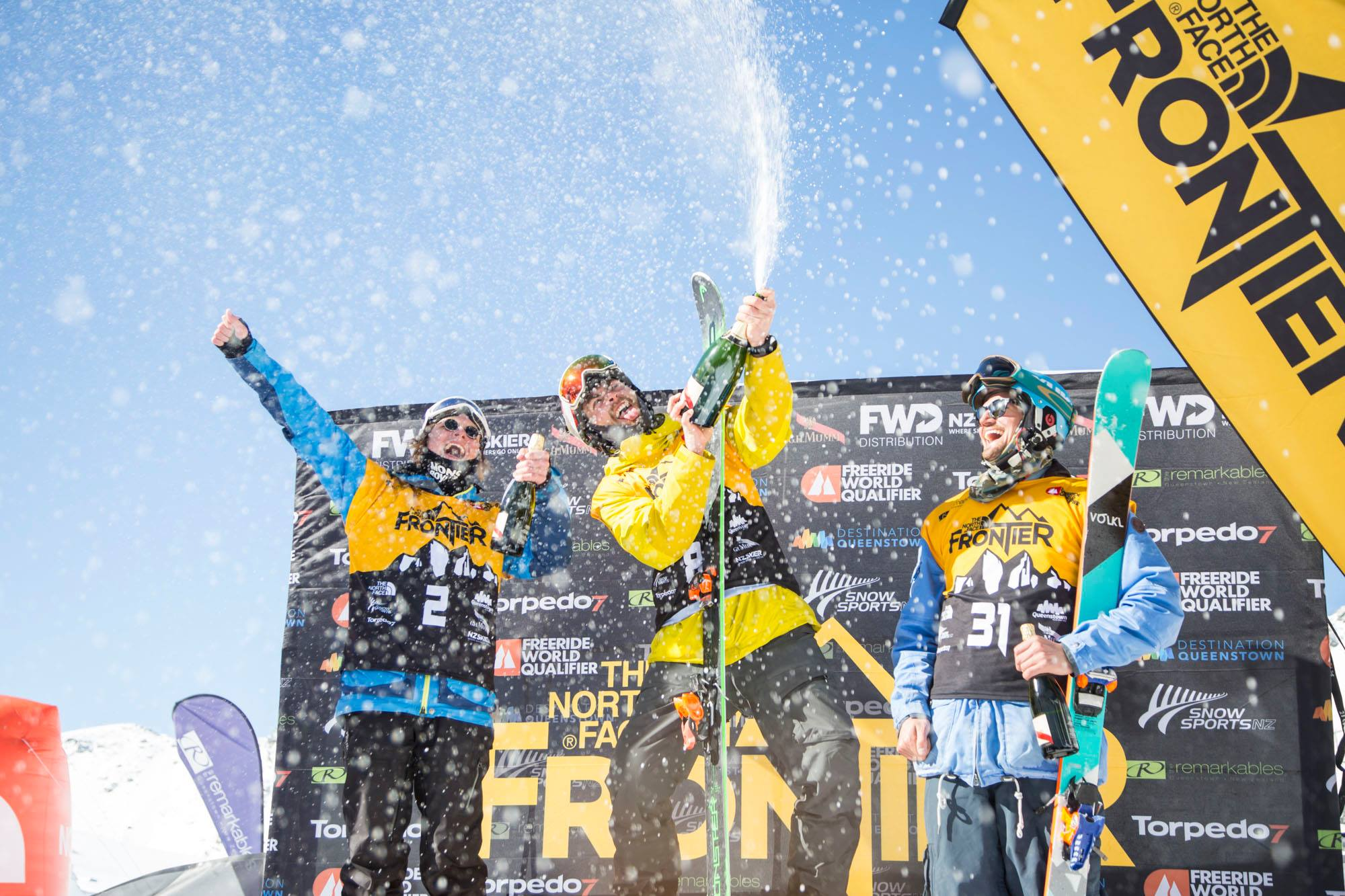 My first time spraying champagne was exactly as fun as I imagined it would be!  PHOTO - THE NORTH FACE FRONTIER