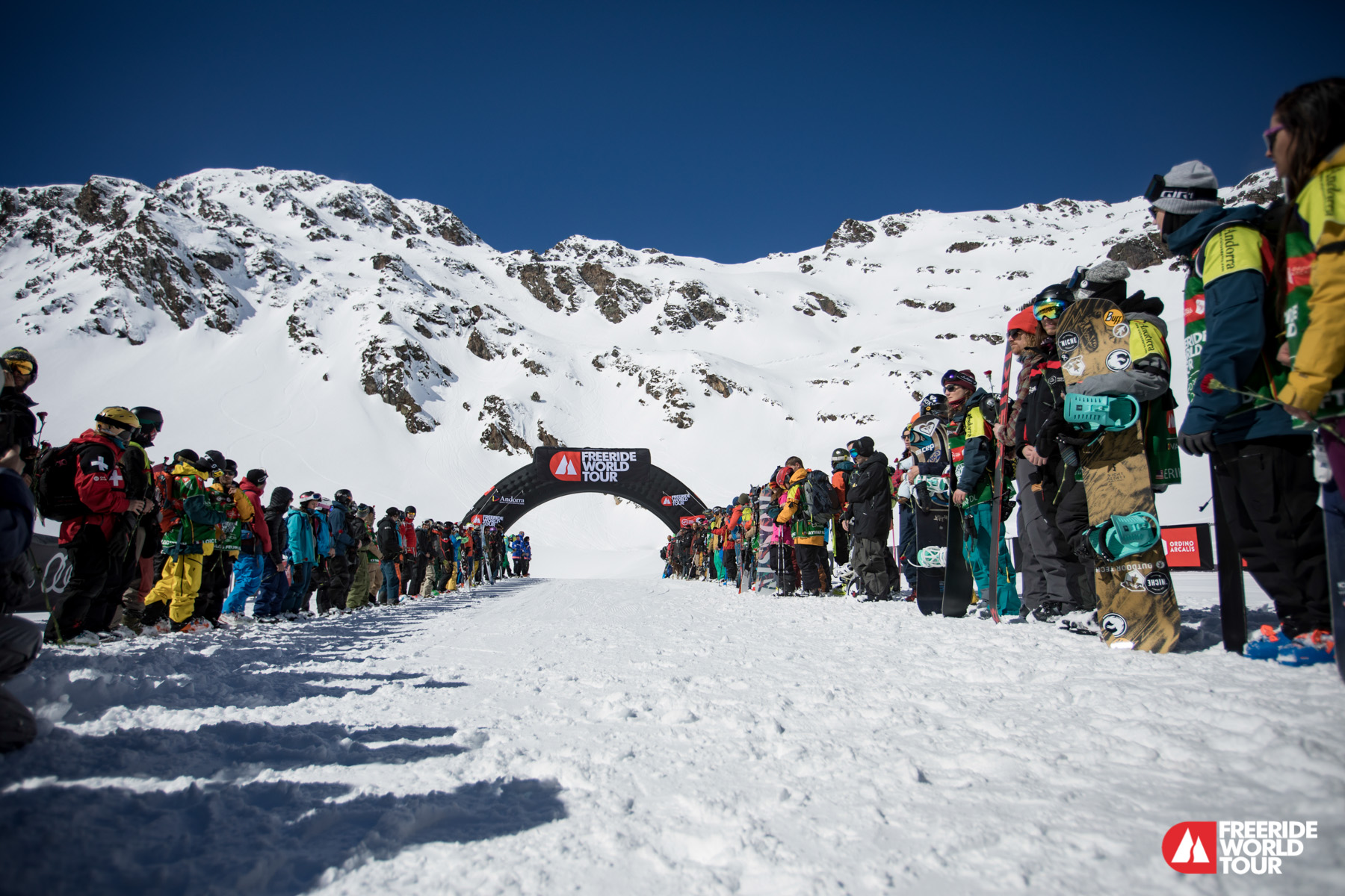 Memorial for Borja in the finish line of FWT Andorra.