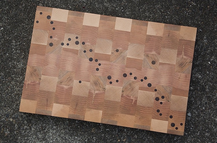 A custom Deoria Made big-leaf-maple block with claro walnut dots. BLM can often have much more character than other maples, and this batch was no exception.