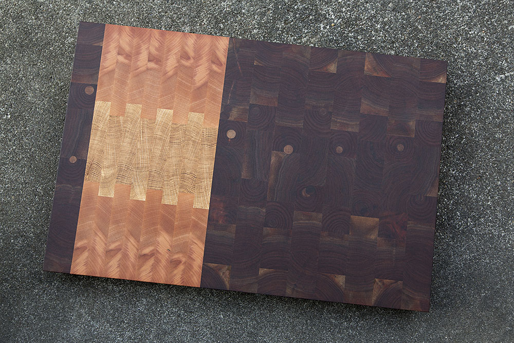 northwest end grain butcher block cutting board with repairing dots