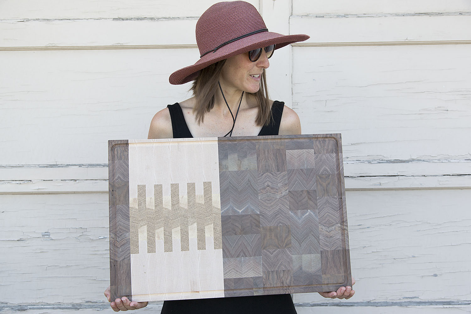 custom sized end grain butcher block cutting board with juice groove