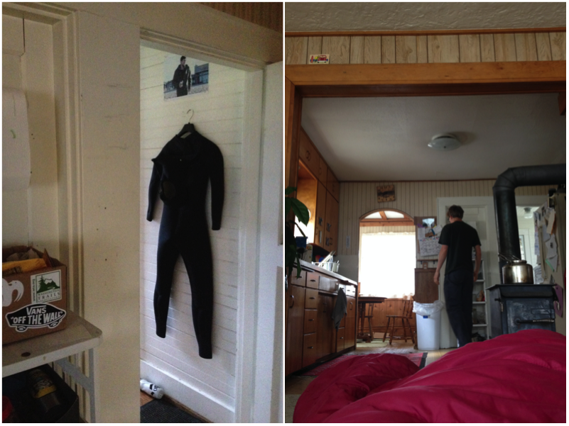 Wet suit by the back door. View of the kitchen from my sleeping bag on the living room floor.