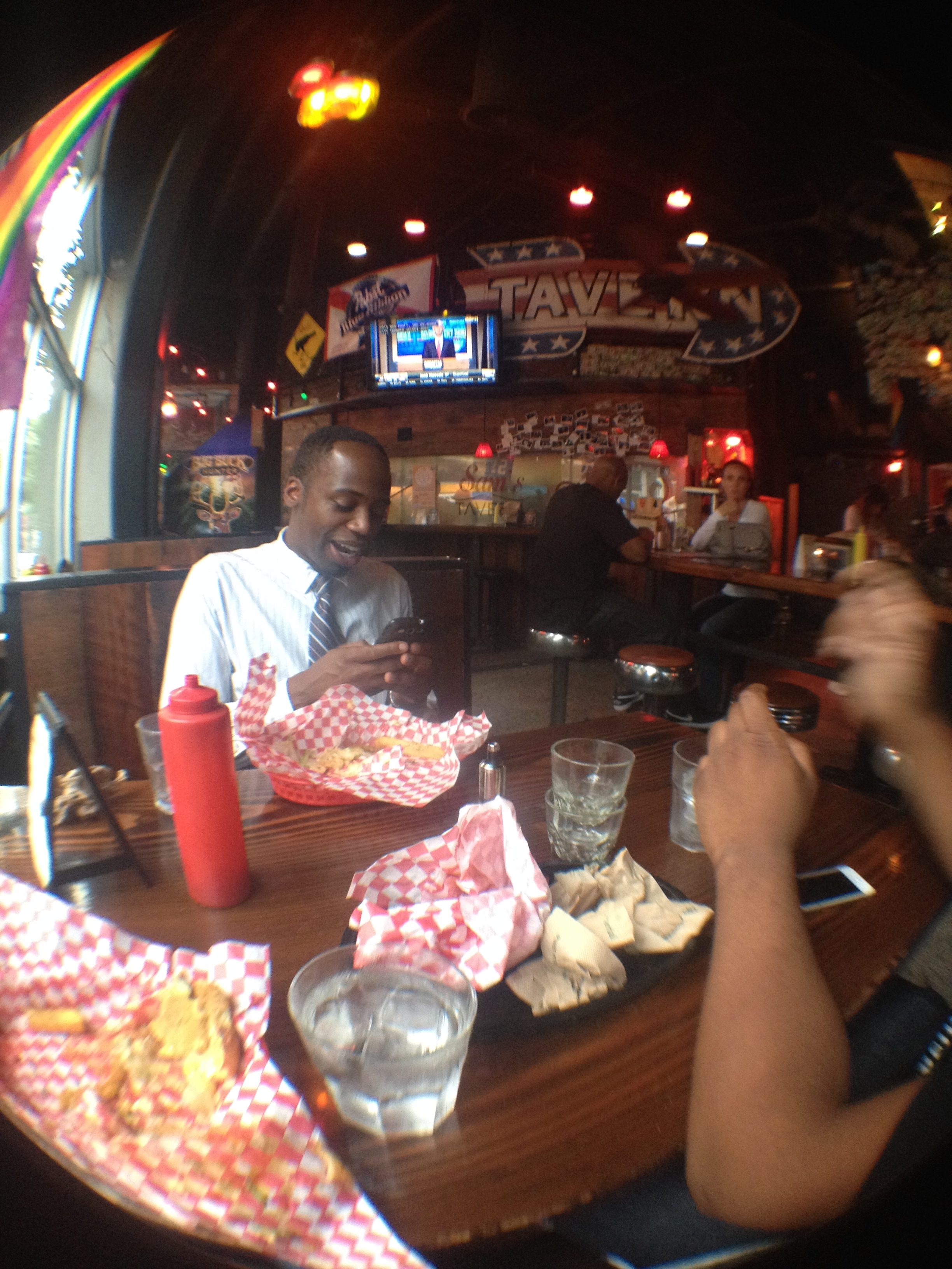 Burgers with Malik at Sam's tavern.