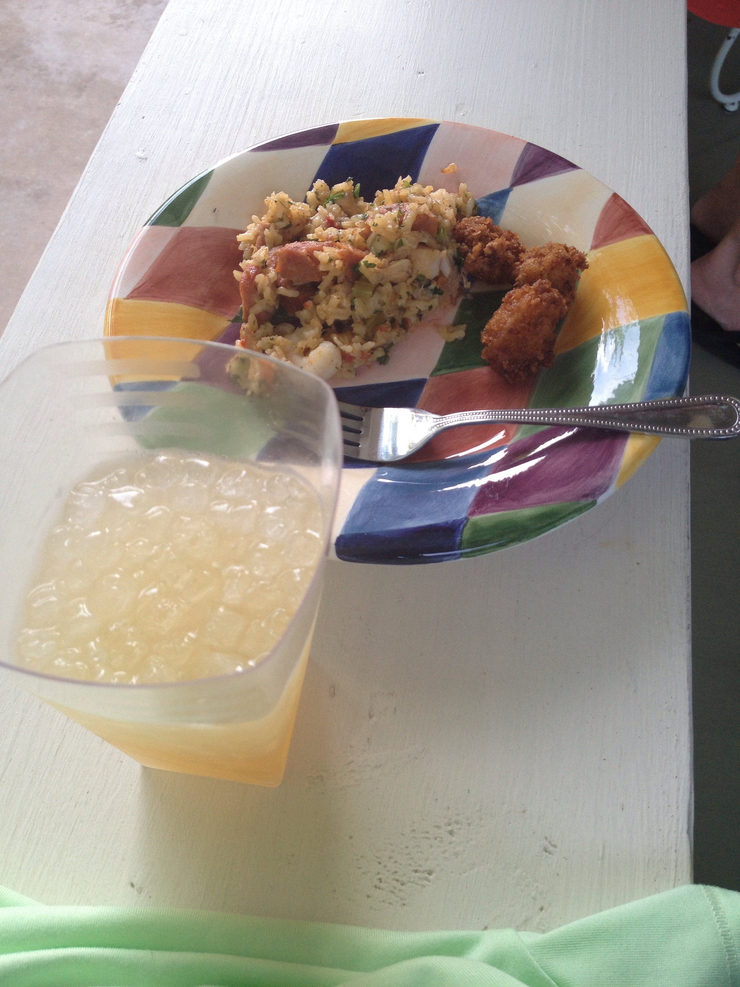 Jim's famous margarita made with agave (I crave this beverage regularly). And his jambalaya and fried crocodile tail.