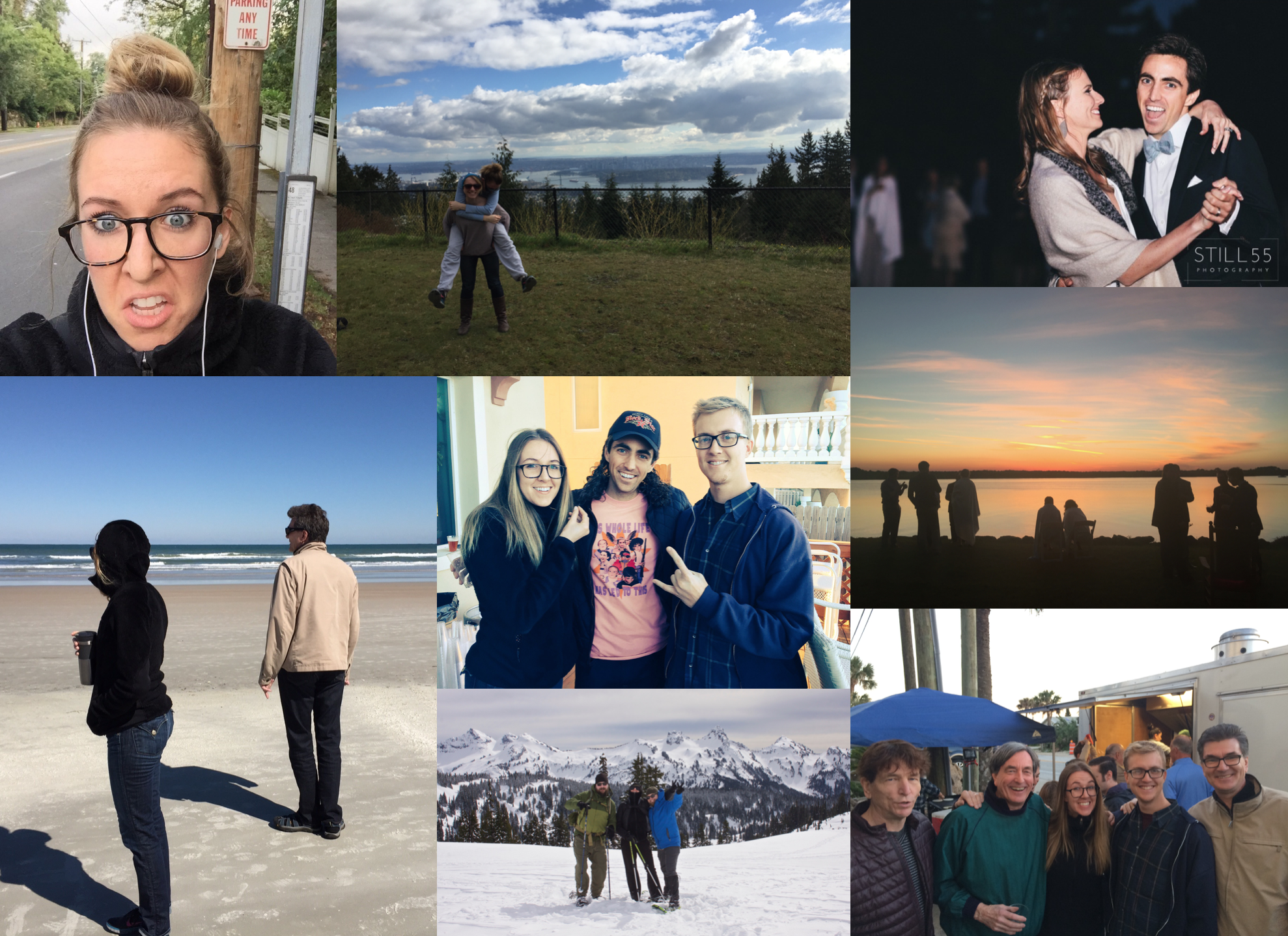 February: Enjoyed taking the bus again on a regular basis; visited cousin Morgan and Dave in Van; cousin Chris and Laura had a big fat Greek wedding in Daytona; Justin, Aaron and I snowshoed Paradise.