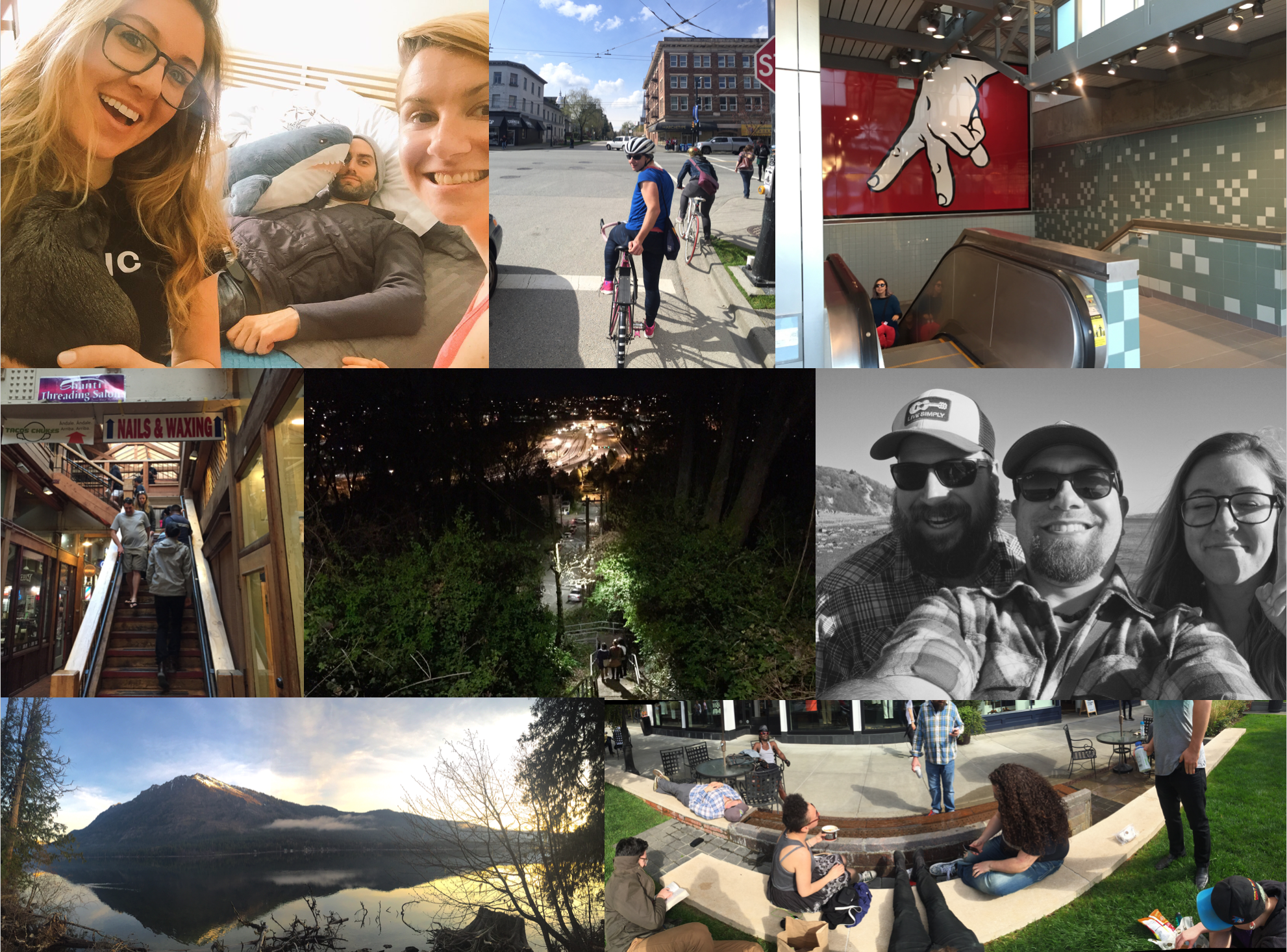 March: I got to hold my guinea pig nephew with Morgan and Dave; the new Link light rail stations opened; Herb introduced us all to Tacos Chukis; Justin, Aaron and I at Discovery Park; family visit to Lake Wenatchee; Uvillage fam break time.