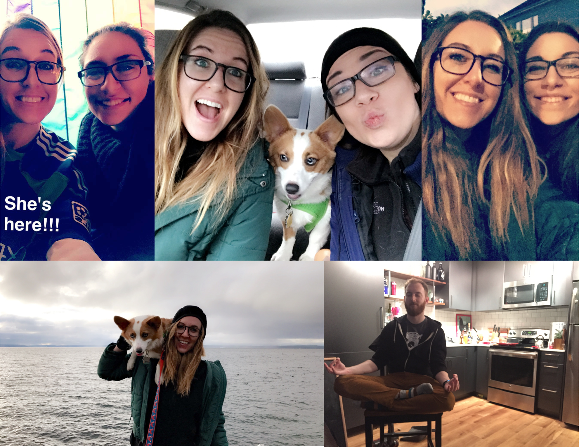 December: Kym visited with Tosh, the corg-bot, my sweet dog nephew; a photo of Taylor from the beginning of the year. Sounders won their first MLS cup against Toronto!!!