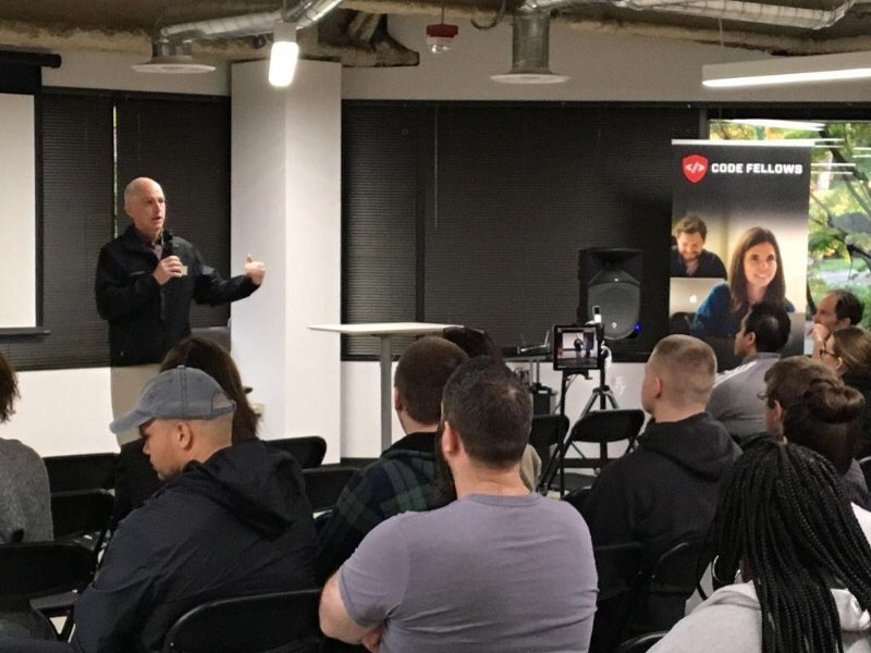 House Representative, Adam Smith of Washington's 9th district, held a town hall meeting at Code Fellows. He talked about how he's really glad code schools exist.