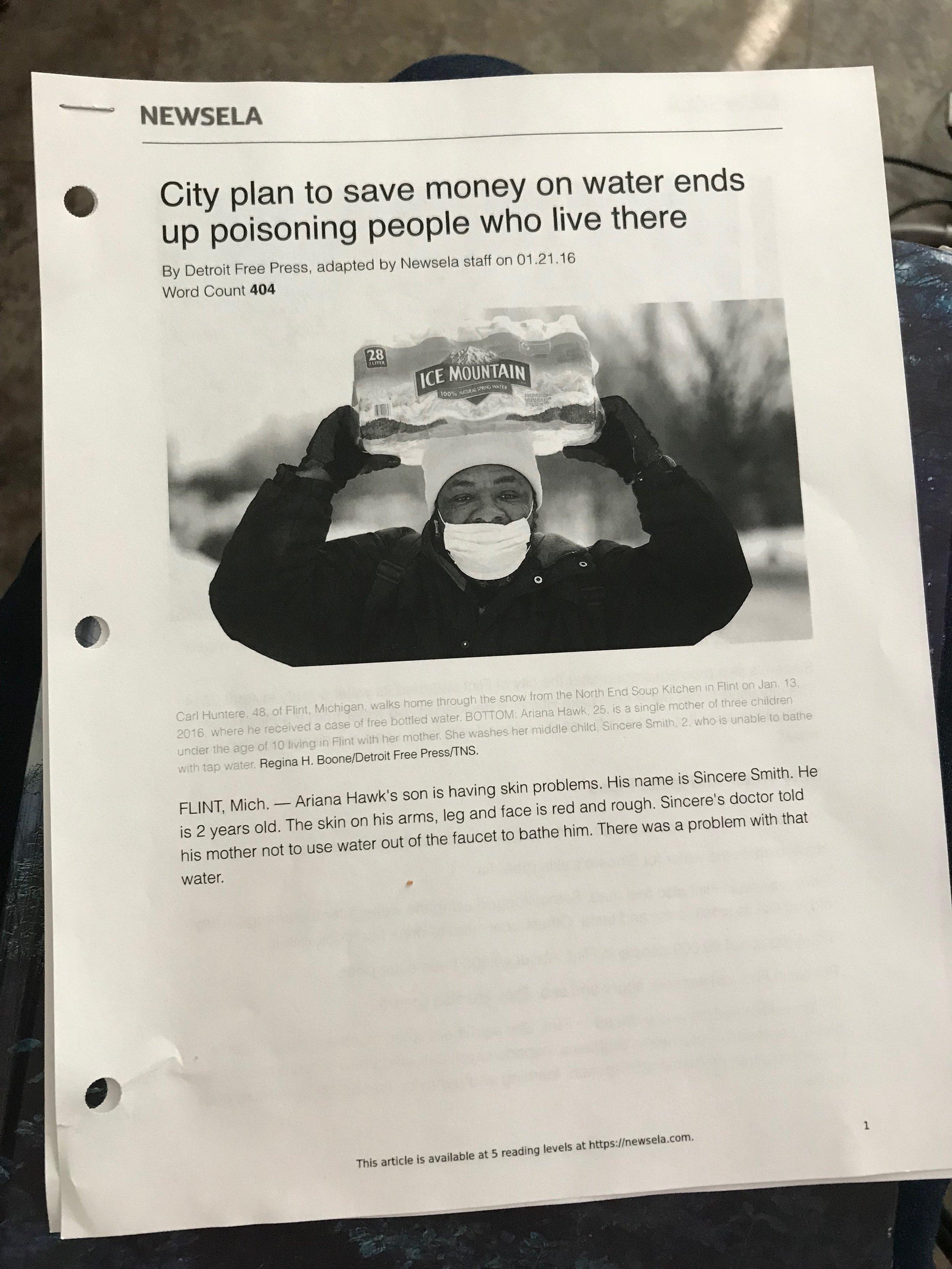 6th grade flint water crisis readings.