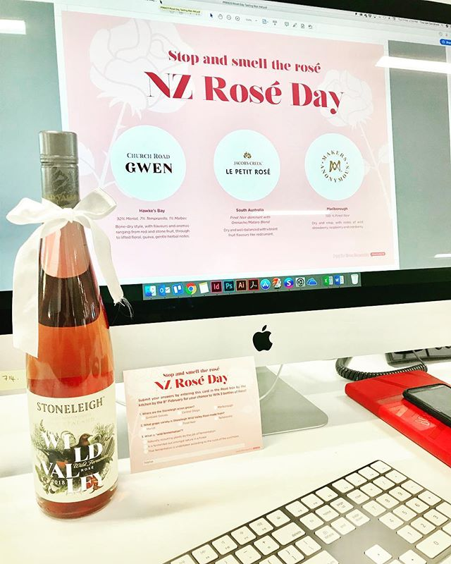 Working hard today #workperks🍷 • • • • #roséday #rosé #graphicdesign #wine #foodartist #wip #workperks