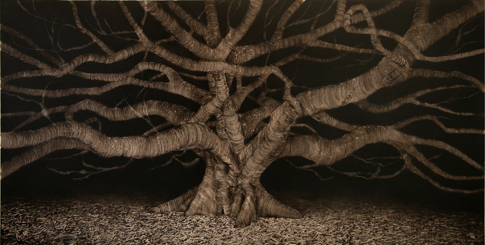 Night Fig with Claw, 2006. Oil on paper. 54cm x100cm.