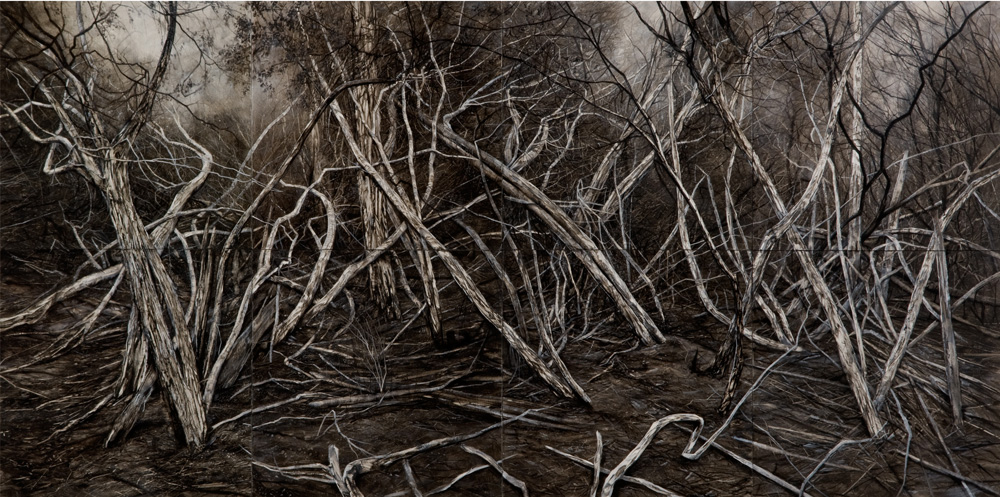 Narcissus, Lake St Claire, 2014. Oil on Panels. 160cm x 80cm (overall)