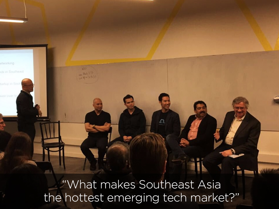 SEA Connect December 13, 2016 @ Block71 San Francisco  with Aldo Carrascoso (Veem), Nayako Wicaksono (Plug & Play Indonesia), Thuc Vu (OhmniLabs), Nirmal Nair (Clickatel), and Richard Dasher (US-Asia Technology Management Center, Stanford University)