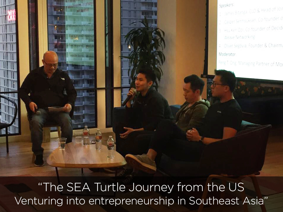 SEA Connect March 14, 2018 @ WeWork Embarcadero Center  with Casper Sermsuksan (Kulina), James Bitanga (REAPRA), and Hsu Ken Ooi (Decide-acq. by eBay and Weave Networking)