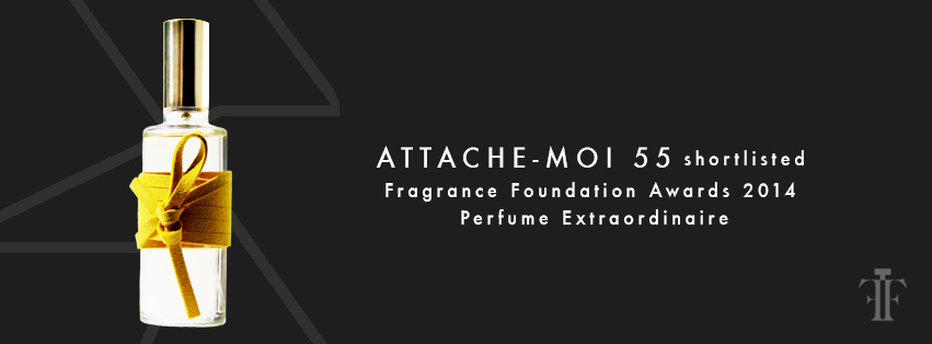 ATTACHE-MOI 55 includes top notes of mandarin, mirabelle and cardamom; mid notes of osmanthus, orris and jasmine absolutes; and a drydown of woody amber cashmere musk and vetiver.