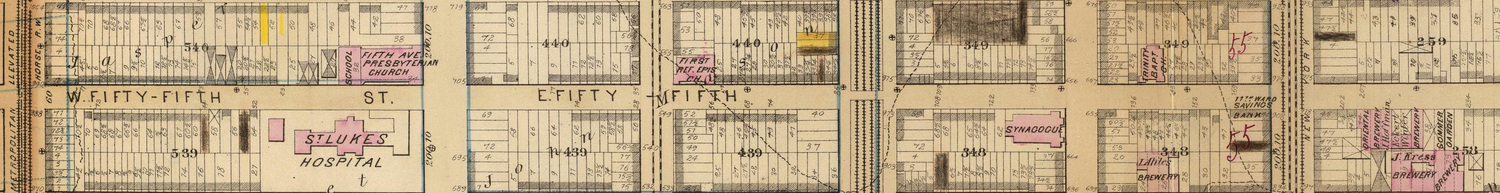 55th Street, New York– between 6th Avenue and 2nd Avenue– detail from G.W. Bromley Atlas of Manhattan 1891