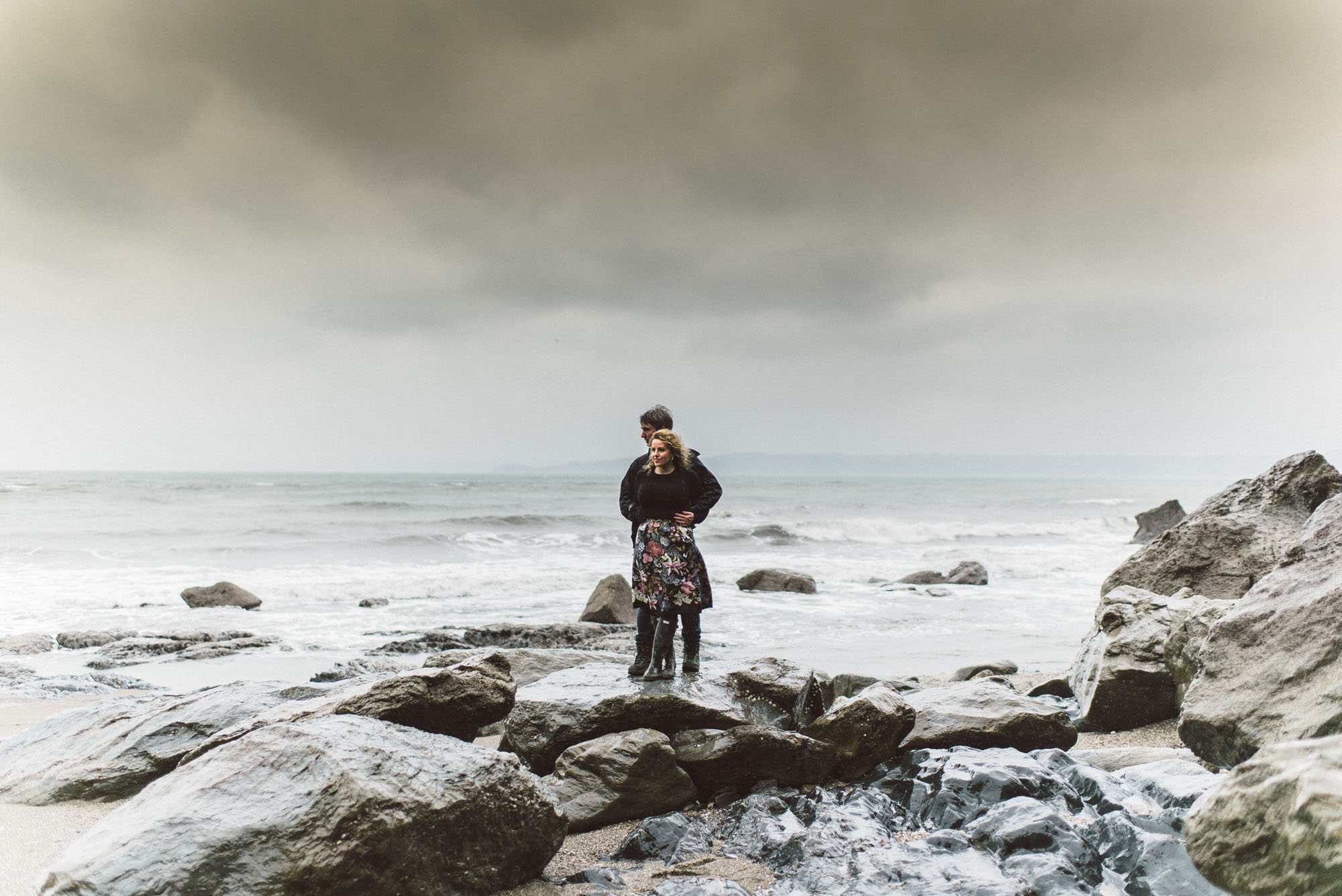 Wet and windy pre-wedding shoot in Cornwall - Cheryl and Alec