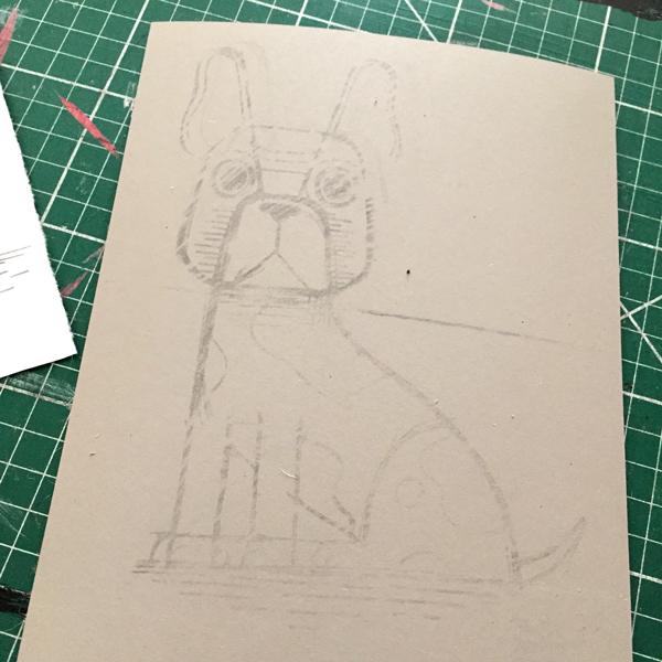 Original drawing transferred using the back rubbing method