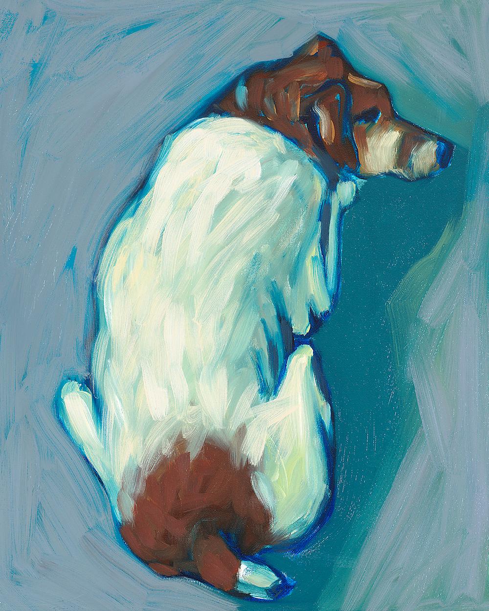 Studio Dog  oil on canvas 16 x 20