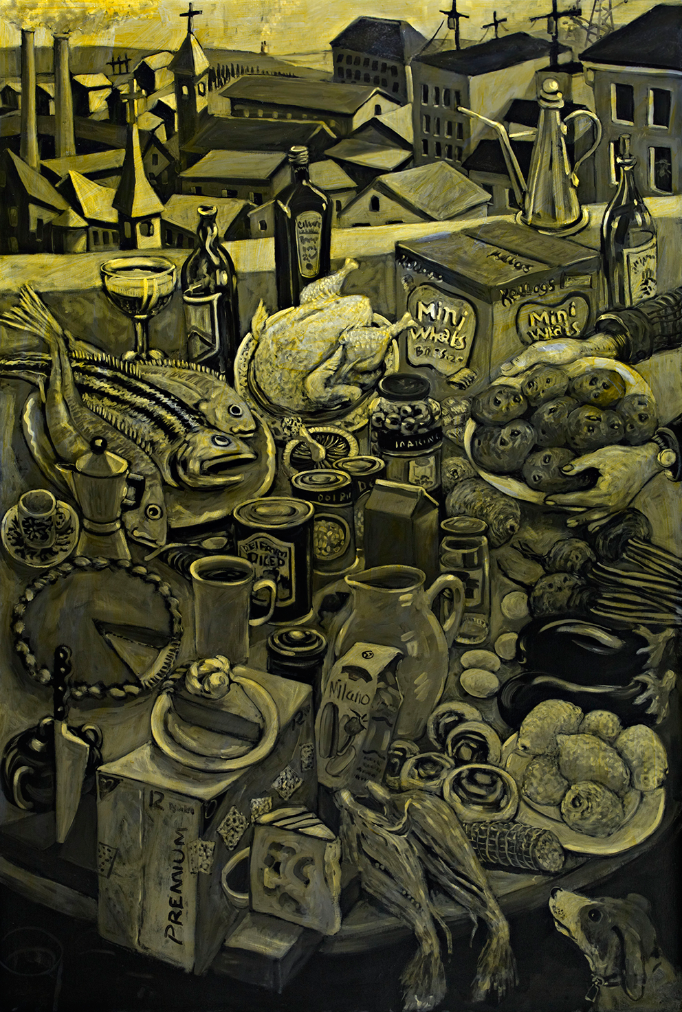 Still Life with Fish   oil on canvas 4 x 6 ft