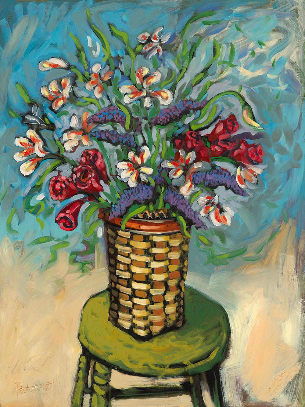 Flowers on Bar Stool  oil on canvas 30 x 40