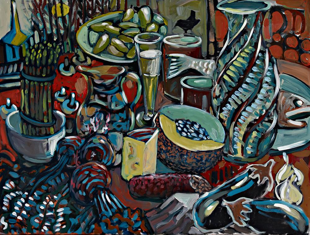 Still Life with Melon  oil on canvas 30 x 40