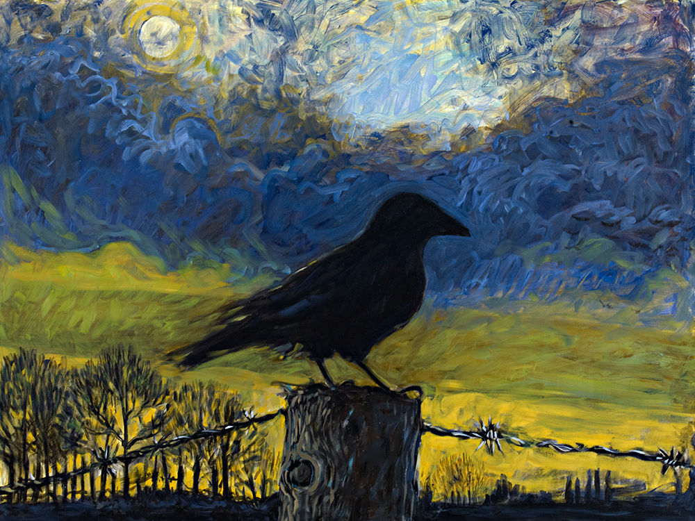 Raven on Fencepost   oil on canvas 30 x 40