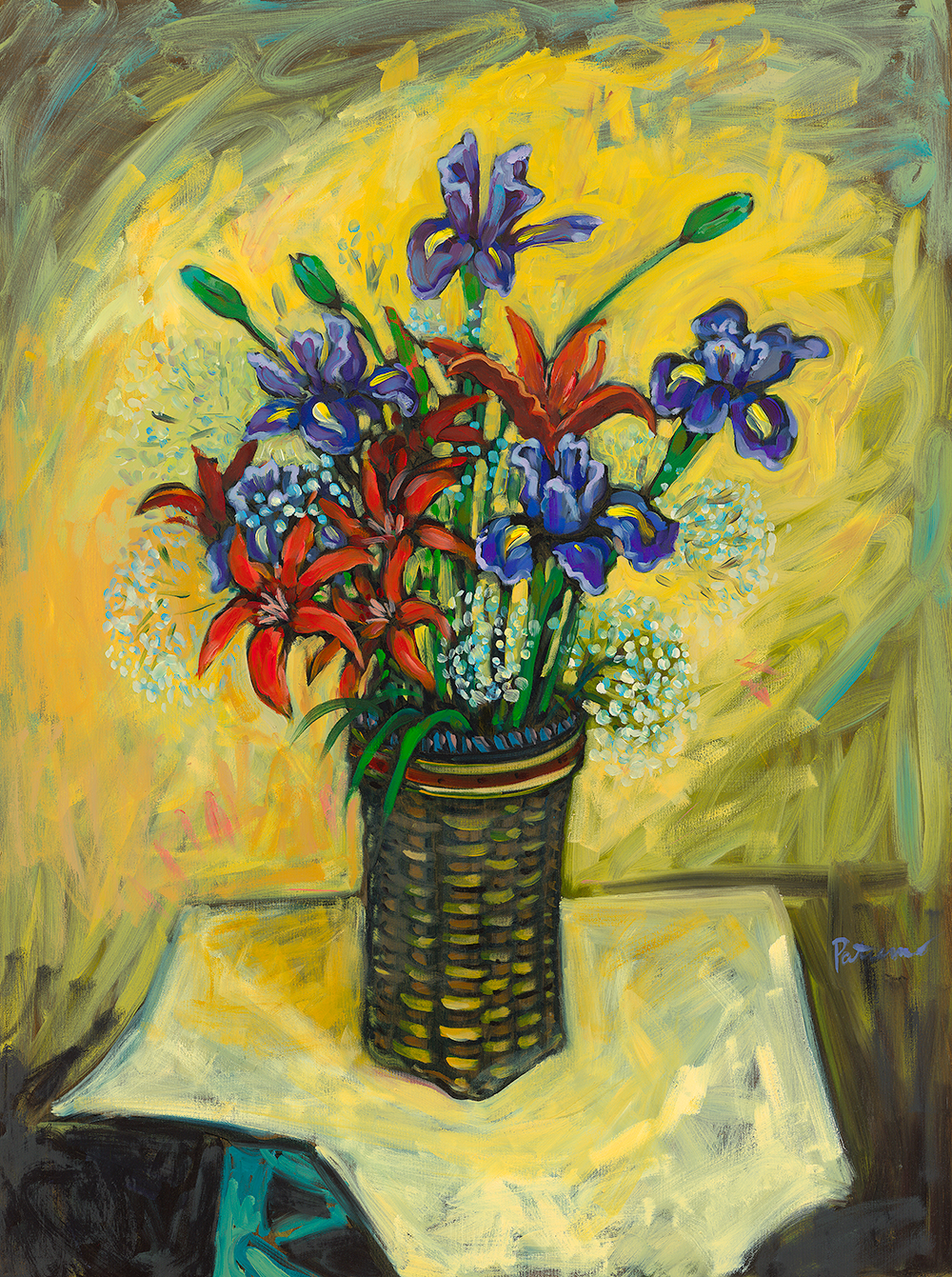 Flowers on Yellow Background   oil on canvas 30 x 40