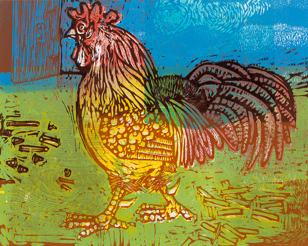 Rooster  woodcut 18 x 20