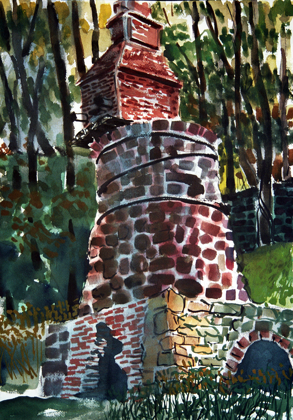 Codorus Furnace Sunset  watercolor 30 x 22