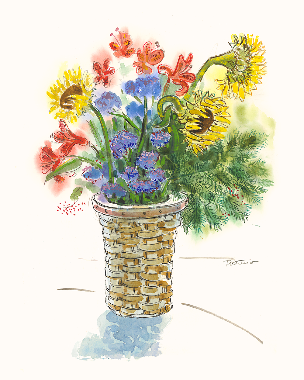 Sunflower Basket   watercolor 22 x 30