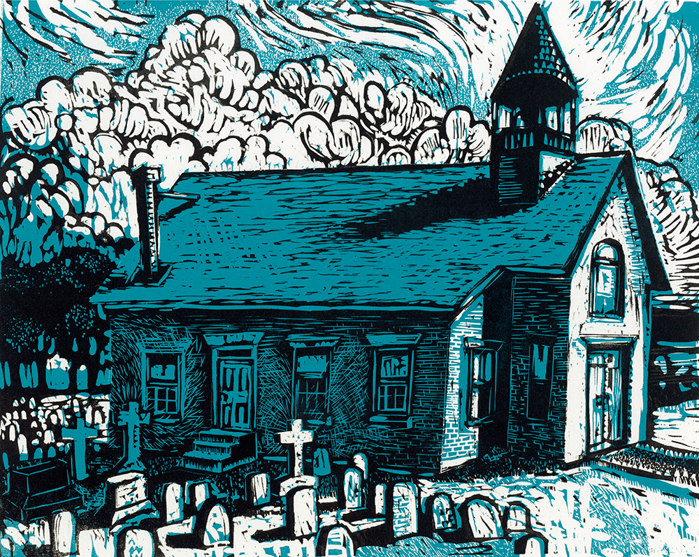 Country Church    woodcut  18 x 20