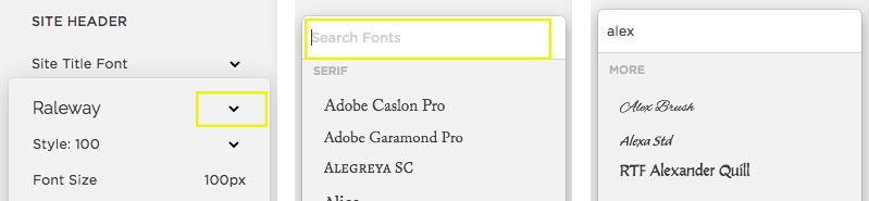 How to search for a font in Style Editor