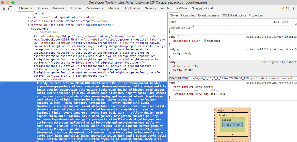 The Chrome Inspector showing the Collection ID (in blue)