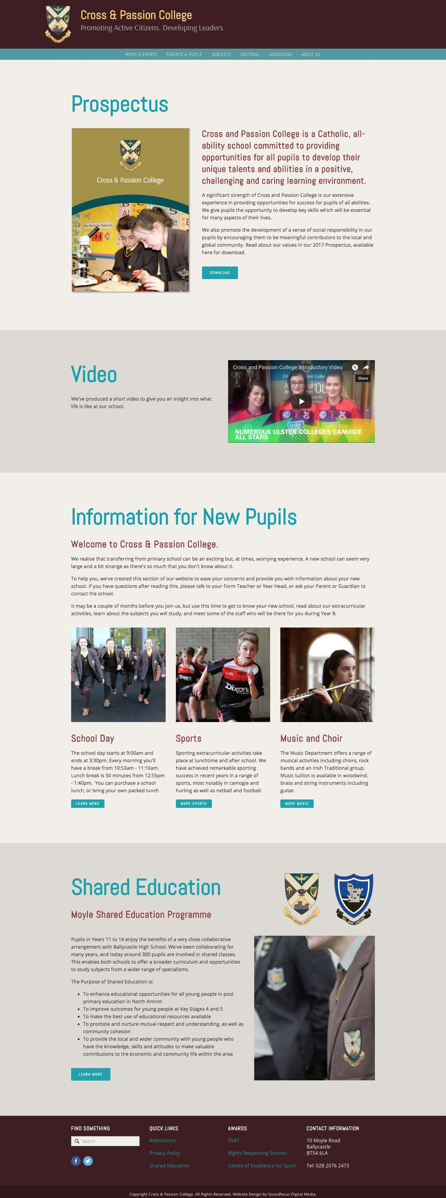 Example responsive website page from Cross and Passion College website