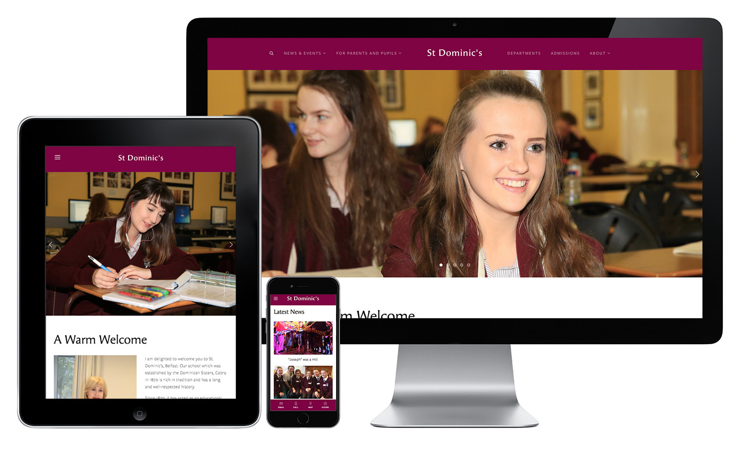 Grammar School Website on mobile devices