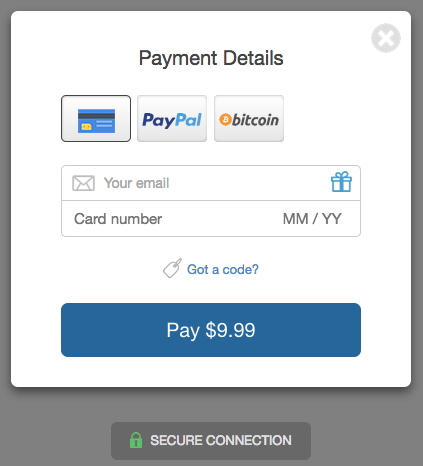 SendOwl checkout window for credit card, PayPal and bitcoin